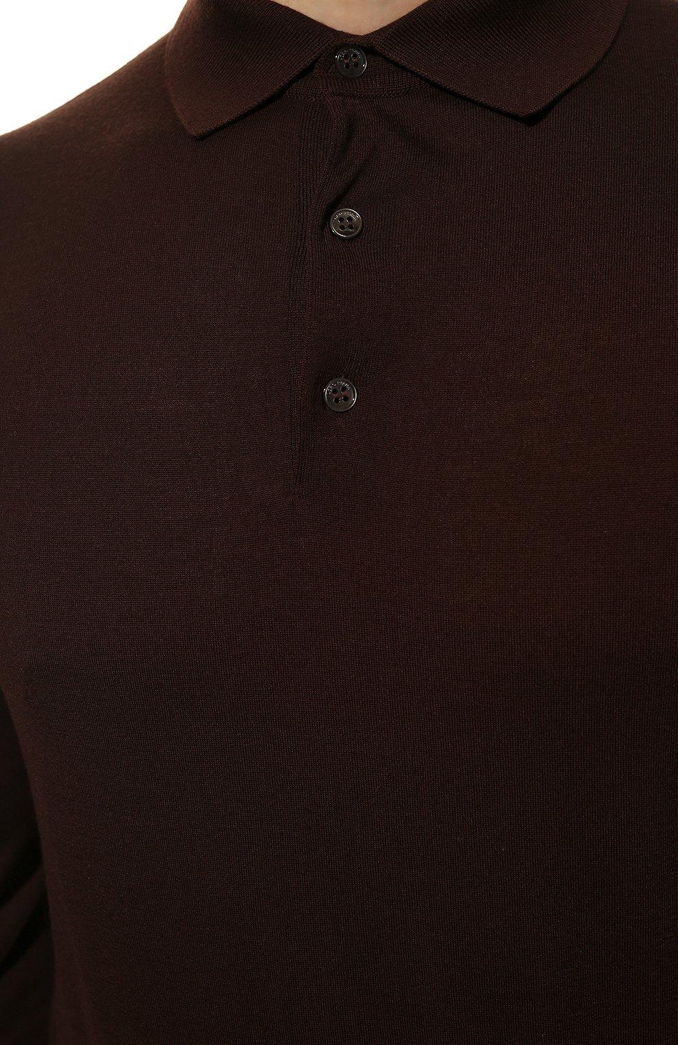 Мужское шерстяное поло LORO PIANA темно-коричневого цвета, арт. FAI2551 | Фото 5