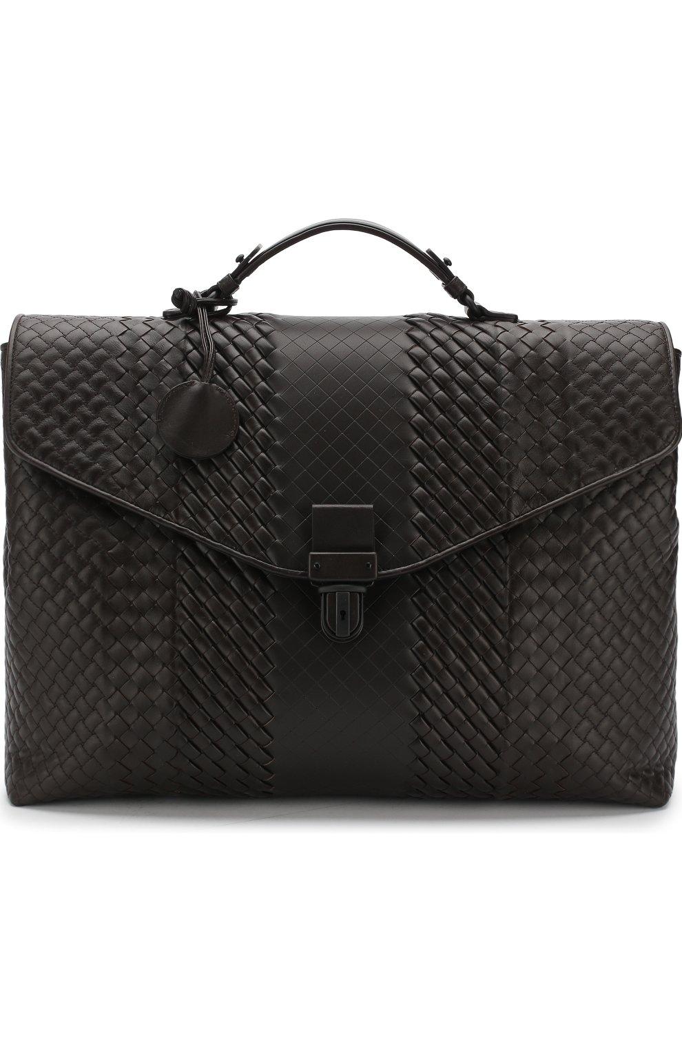 4788a736b9c9 Кожаный портфель с плетением Imperatore Bottega Veneta коричневый   Фото №1