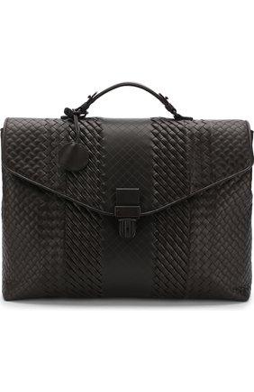 Кожаный портфель с плетением Imperatore  | Фото №1