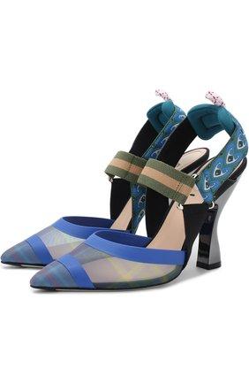 Текстильные туфли на фигурном каблуке   Фото №1