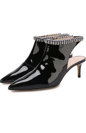 Лаковые туфли с кристаллами на каблуке kitten heel Christopher Kane черные | Фото №1