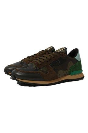Мужские комбинированные кроссовки valentino garavani rockrunner VALENTINO хаки цвета, арт. QY2S0723/TCC | Фото 1