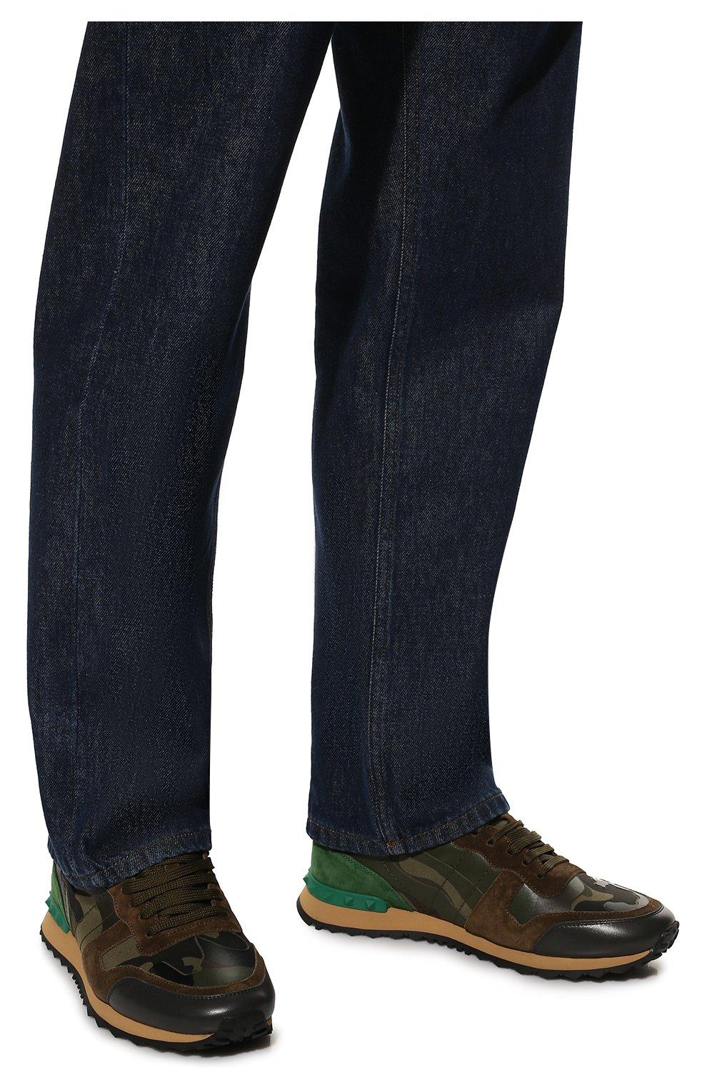 Комбинированные кроссовки Valentino Garavani Rockrunner на шнуровке   Фото  №3 0a7a4eae76c
