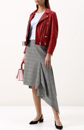 Однотонная кожаная куртка с косой молнией Acne Studios красная | Фото №1