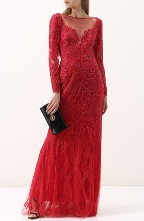 Однотонное шелковое платье-макси с отделкой из бисера Zuhair Murad малиновое | Фото №1