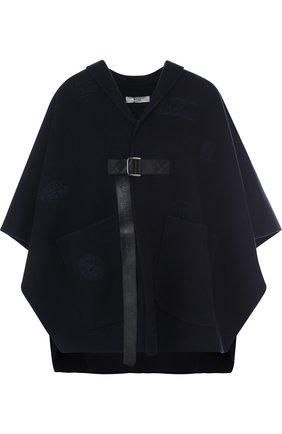 Однотонное шерстяное пончо с накладными карманами | Фото №1