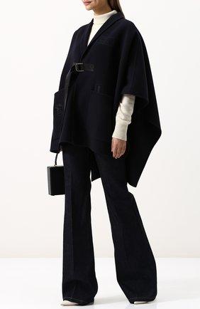 Однотонное шерстяное пончо с накладными карманами Bally темно-синяя | Фото №2