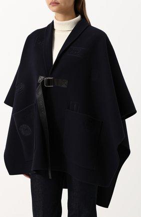 Однотонное шерстяное пончо с накладными карманами Bally темно-синяя | Фото №3