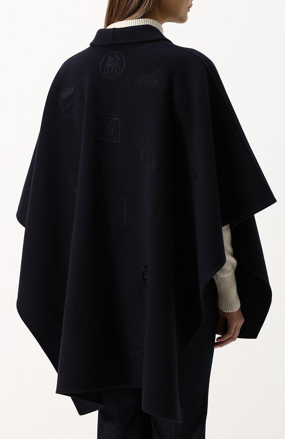 Однотонное шерстяное пончо с накладными карманами Bally темно-синяя | Фото №4