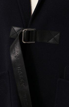 Однотонное шерстяное пончо с накладными карманами Bally темно-синяя | Фото №5