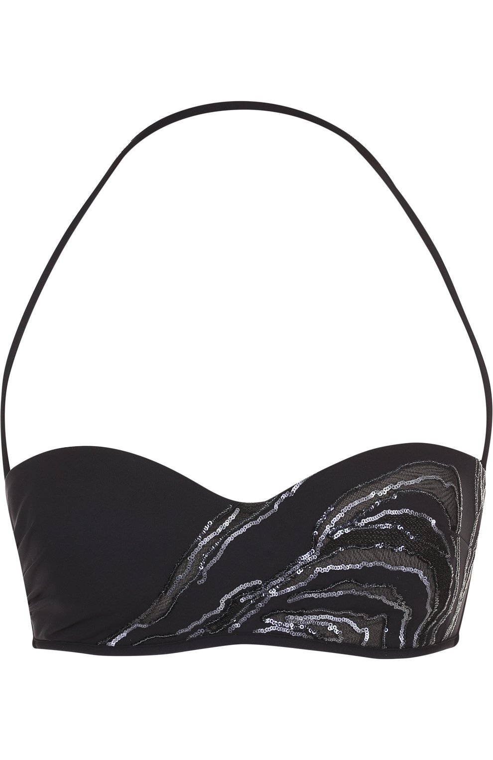 Женский однотонный бра с пайетками LA PERLA черного цвета, арт. 001044C | Фото 1