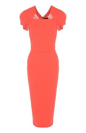 Приталенное шерстяное платье-миди на молнии Roland Mouret коралловое | Фото №1