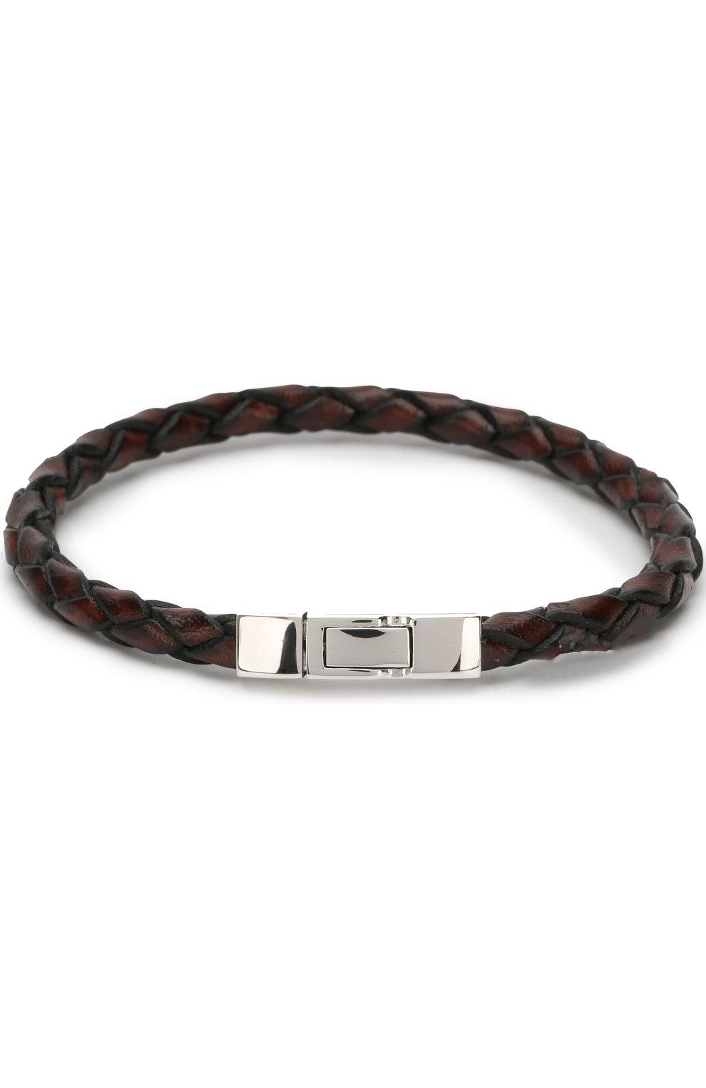 Плетеный кожаный браслет с серебряной отделкой | Фото №1
