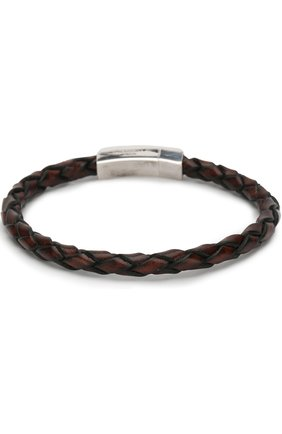 Плетеный кожаный браслет с серебряной отделкой | Фото №2