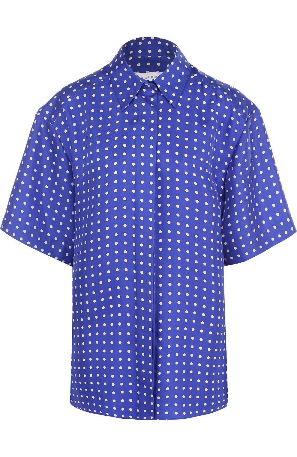 Шелковая блуза с укороченным рукавом и принтом | Фото №1