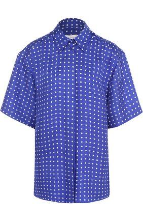 Шелковая блуза с укороченным рукавом и принтом Walk of Shame синяя | Фото №1