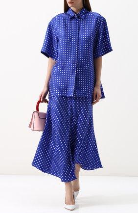 Шелковая блуза с укороченным рукавом и принтом Walk of Shame синяя | Фото №2