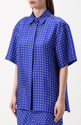 Шелковая блуза с укороченным рукавом и принтом Walk of Shame синяя | Фото №3