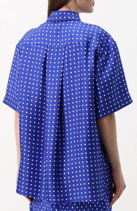 Шелковая блуза с укороченным рукавом и принтом Walk of Shame синяя | Фото №4
