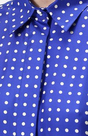 Шелковая блуза с укороченным рукавом и принтом Walk of Shame синяя | Фото №5