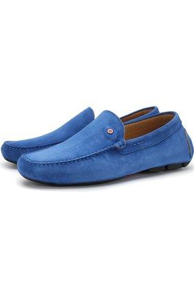 Замшевые мокасины Kiton синие | Фото №1