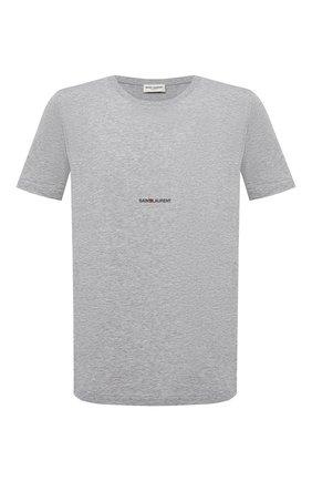 Мужская хлопковая футболка с логотипом бренда SAINT LAURENT серого цвета, арт. 464572/YB2DQ | Фото 1