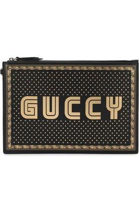 Кожаный клатч Guccy на молнии | Фото №1