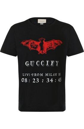 Мужская хлопковая футболка с принтом GUCCI черного цвета, арт. 493117/X3N25   Фото 1