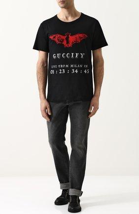 Мужская хлопковая футболка с принтом GUCCI черного цвета, арт. 493117/X3N25   Фото 2