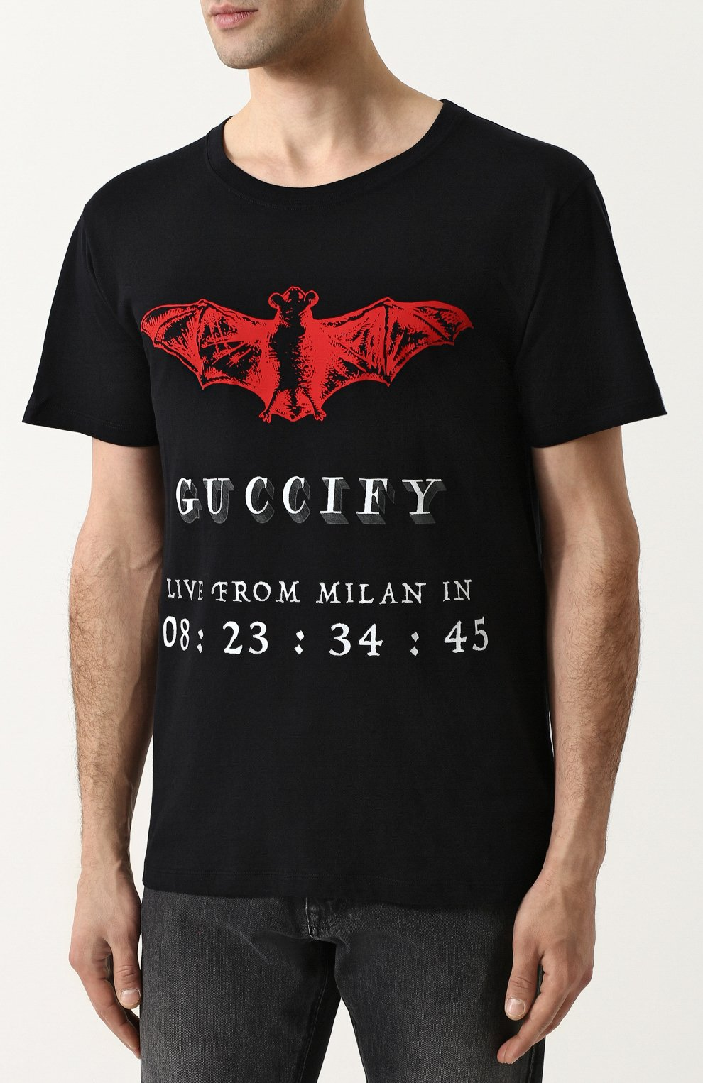 Мужская хлопковая футболка с принтом GUCCI черного цвета, арт. 493117/X3N25   Фото 3