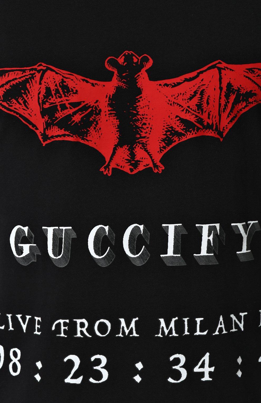 Мужская хлопковая футболка с принтом GUCCI черного цвета, арт. 493117/X3N25   Фото 5