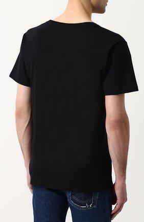 Мужская хлопковая футболка с принтом GUCCI черного цвета, арт. 493117/X3N38   Фото 4