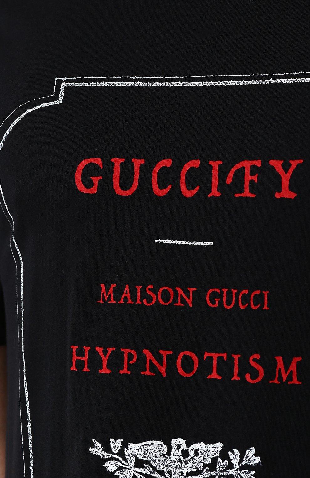 Мужская хлопковая футболка с принтом GUCCI черного цвета, арт. 493117/X3N38   Фото 5
