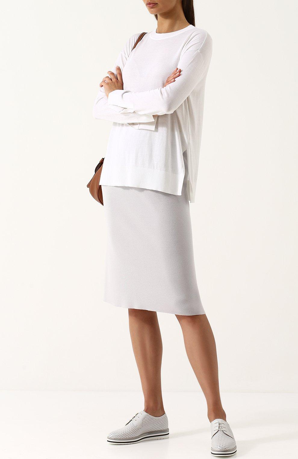 Женская однотонная юбка-миди из смеси шелка и кашемира TSE светло-серого цвета, арт. TWK318S18B   Фото 2