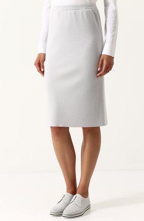 Женская однотонная юбка-миди из смеси шелка и кашемира TSE светло-серого цвета, арт. TWK318S18B   Фото 3