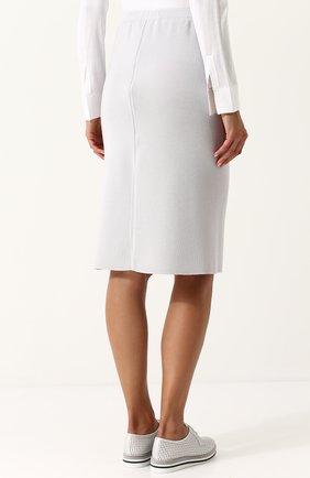 Женская однотонная юбка-миди из смеси шелка и кашемира TSE светло-серого цвета, арт. TWK318S18B   Фото 4