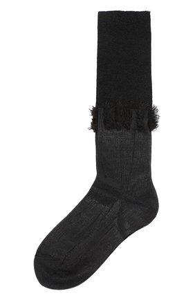 Высокие вязаные носки с контрастной бахромой | Фото №1