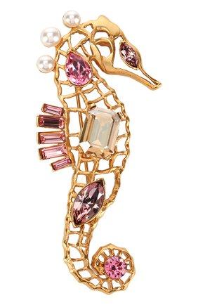 фигурная брошь с отделкой кристаллами swarovski OSCAR DE LA RENTA золотого цвета, арт. P18J315CGS | Фото 1