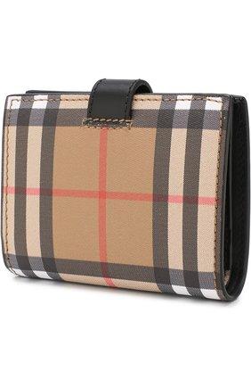 Женские кожаный кошелек в клетку BURBERRY черного цвета, арт. 4073431   Фото 2