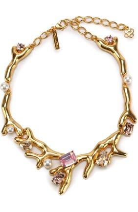 Колье с отделкой кристаллами Swarovski и жемчужинами Oscar de la Renta розовое | Фото №1
