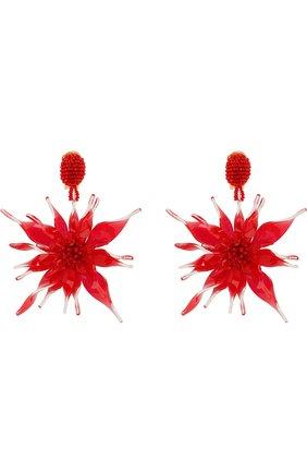 Серьги-клипсы в виде цветов с отделкой бисером | Фото №1