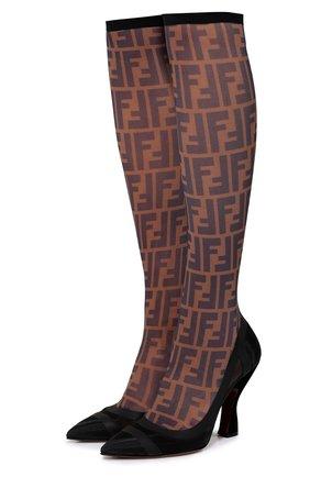 Текстильные сапоги на фигурном каблуке | Фото №1
