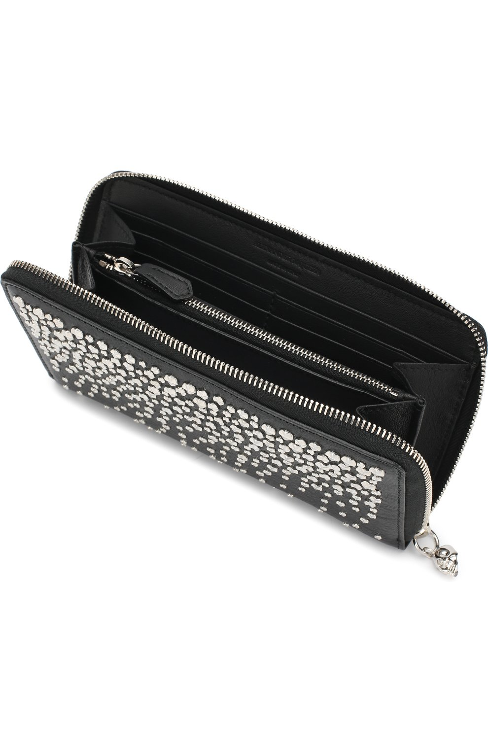 Кожаный кошелек на молнии с металлическими заклепками   Фото №3
