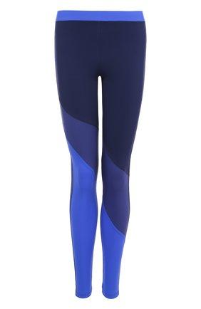 Спортивные леггинсы с контрастной отделкой NATAYAKIM синего цвета | Фото №1