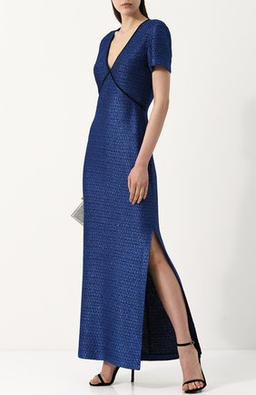 Платье-макси с V-образным вырезом и разрезом St. John синее | Фото №1