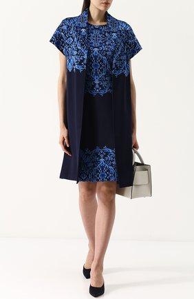 Приталенное мини-платье с круглым вырезом и контрастной вышивкой St. John синее | Фото №1