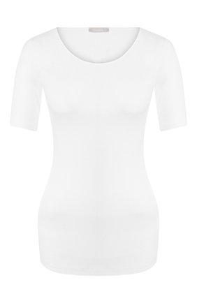 Приталенная хлопковая футболка с круглым вырезом | Фото №1