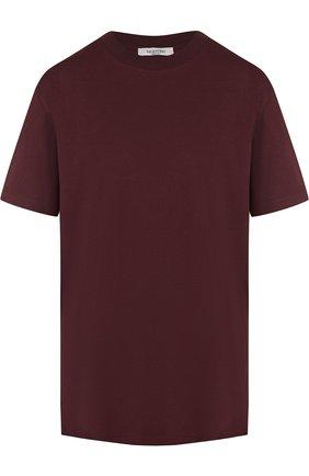 Мужская хлопковая футболка с круглым вырезом VALENTINO бордового цвета, арт. QV3MG08Y3LE | Фото 1