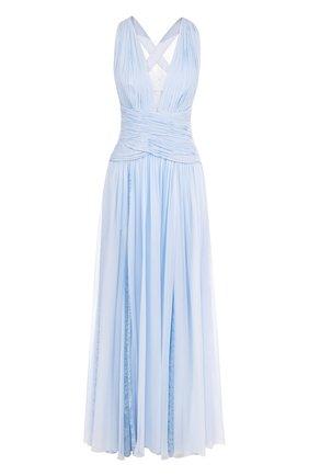 Однотонное шелковое платье-макси с кружевными вставками Zuhair Murad голубое | Фото №1