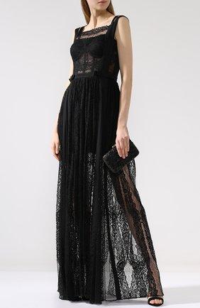 Однотонное кружевное платье-макси Zuhair Murad черное | Фото №1